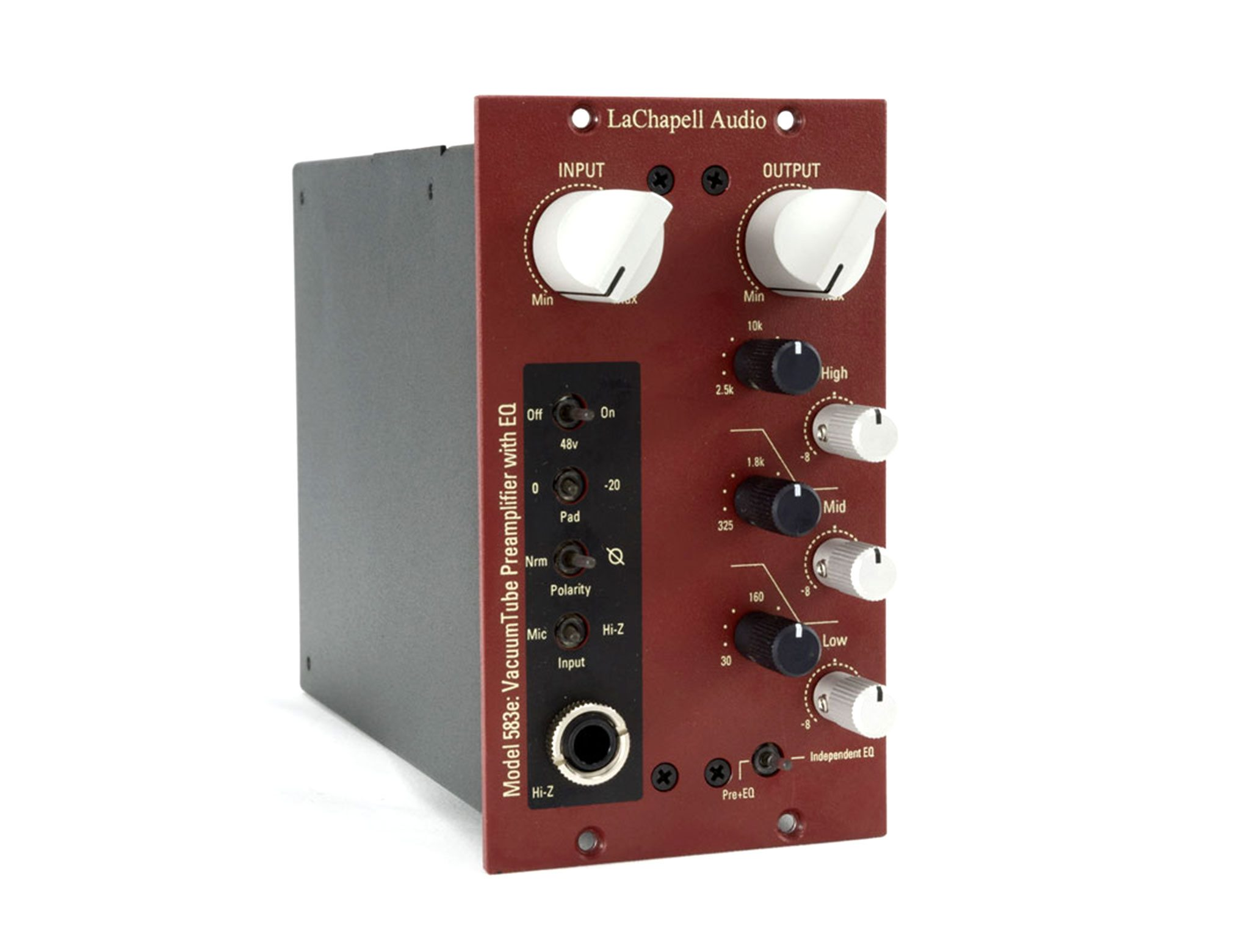 LaChapell Audio 583e 500 series tube microphone preamp with integrated EQ angle 2 image