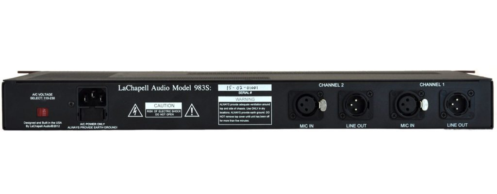 LaChapell Audio 983S Two Channel Tube Mic Pre Rack Unit Back Image