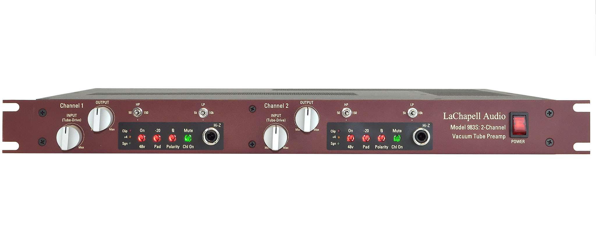 LaChapell Audio 983S two channel tube mic pre rack unit front image