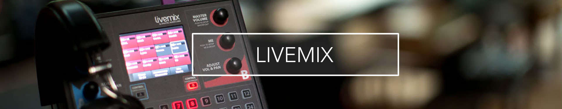 Livemix personal monitor system header banner with CS-DUO two mix personal mixer