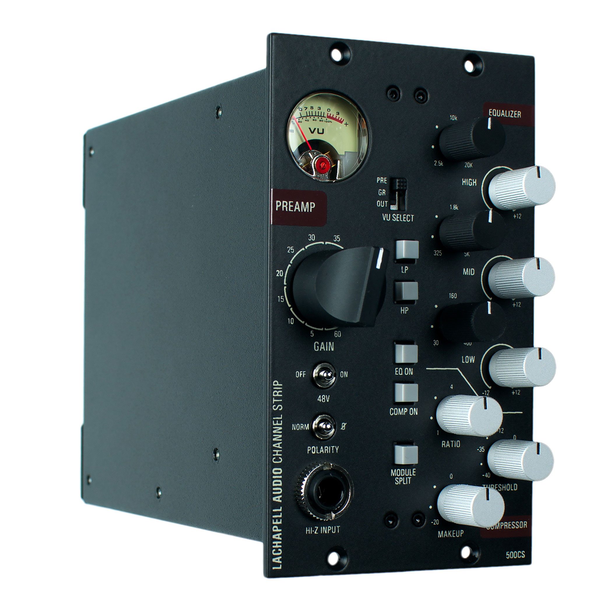 LaChapell Audio 500CS Channel Strip with microphone preamplifier, EQ and compressor - Angle View