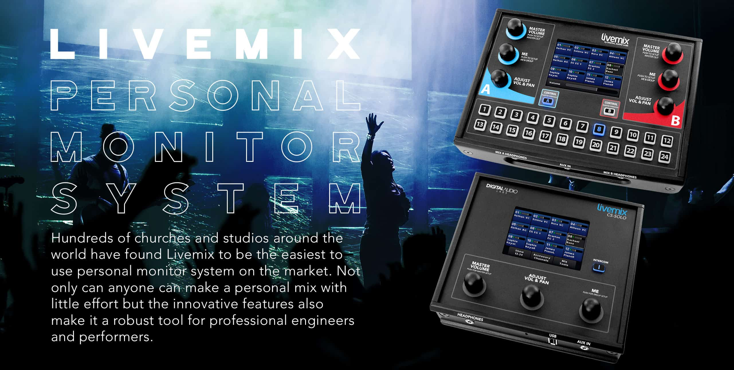 Livemix Personal Monitor System - The easy to use personal mixers for church and studio
